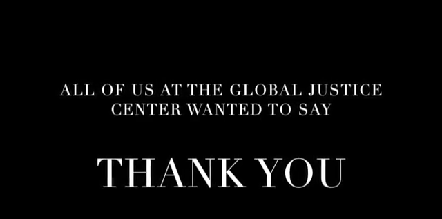 Thank You from the Global Justice Center - Global Justice Center